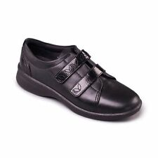 Padders Revive Womens Black Leather 3E/4E Wide Fit Double Touch Fastening Shoes