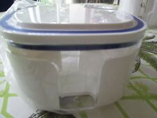 """TUPPERWARE ACRYLIC 0.7 L CANISTER CONTAINER WHITE/BLUE SEAL 3""""H*NIP*FRANCE"""