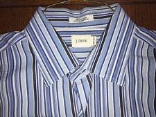 J. Crew Blue Stripe 100% Cotton Sport Shirt Excellent Cond Size M (15-15.5)