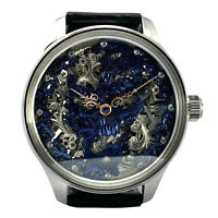Skeleton custom made wristwatch with vintage handmade watch antique movement