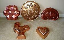 5 Copper Jello Molds - Cake Pan Zodiac Rooster Fleur De Li  Heart Honeycomb Lot