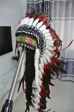 red indian feather headdress war bonnet American costume hat for halloween