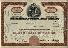 Pennsylvania Power & Light Company Stock Certificate PPL Allentown Brown