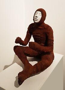 Fugue State - ceramic and iron surreal figure sculpture