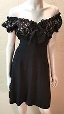 ROUGE À LEVRES Italian Marilyn Monroe DRESS 8 Black Lace Peasant Fit & Flare WOW