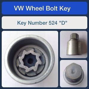 "Genuine VW Locking Wheel Bolt / Nut Key 524 ""D"" Removal Tool Brand New"