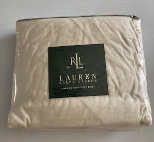 Vintage Ralph Lauren One King Deep Fitted Sheet 100% Pima Cotton 275 Thread Ecru
