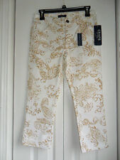 Chaps Straight Leg Denim Capris White with Golden Paisley Design Size:2 New w/ta