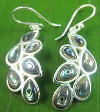 100% Real 925 Sterling Silver UNUSUAL Paua Shell Abalone peacock tail earrings