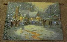 Christmas Welcome Fiber Optic Tapestry Wall Hanging ~ Thomas Kinkade