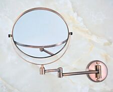 Red Copper Folding Arm Wall Mount Magnifying Cosmetic Bathroom Mirror wba631