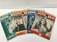 Down Beat Magazine 1942 -- 4issues vol 9 numbers 1,2,3,4 vintage music magazines