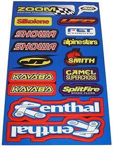 984002 Motorcycle/Scooter/Go-Kart Sticker Set (Renthal, Showa, Kayaba, Camel...)