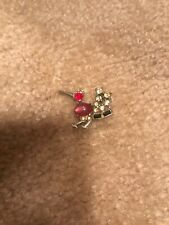 RED Lovely Crystal woodpecker Bird Charm Retro Brooch Pin 1.25 INCHES