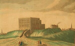 Norwich Castle; antique copper engraving by John Thornton 1700's