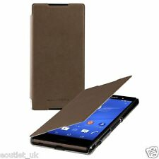 Roxfit Ultra Slim Book Case Flip Cover Folio Sony Xperia Z3+ (Z3 Plus) Brown NEW