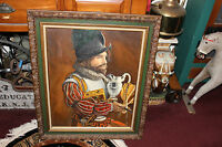 Vintage Spanish Conquistador Soldier Oil Painting Signed Susan Schulte Framed