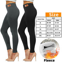 Women Thick Thermal Leggings Fleece Lined Warm High Waist Tummy Control Xmas USA