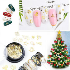 Hot 1 Box Sparkling Metal Slice Christmas Nail Art Sticker Gold Manicure Patches