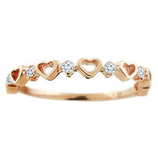 Handmade in USA 14k Rose Gold .10ctw Diamond Heart Stackable Ring Size 6 Trendy
