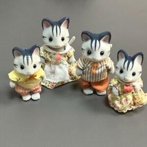 4X Sylvanian Families Harvey Fisher Grey Cat Family Calico Critters Gray Cats