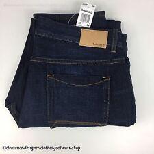Timberland Jeans Da Uomo Blu Navy Denim Blu Scuro Slavato Slim Fit Nuovo w36 l34 RRP £ 75