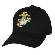 US MARINE CORPS USA MADE Licensed Military Black White EGA Hat Baseball Cap