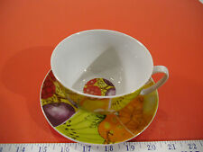CIB Tutti Fruitti Porcelain BIG Tea Cup & Saucer Set - NIB Fruit Pattern