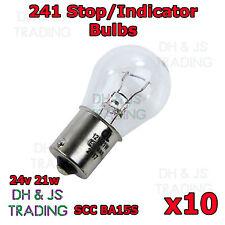 10 x 241 Brake Light Indicator Stop Tail Car Bulbs Bulb 24v 21w BAY15S SCC