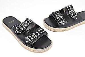 SAINT LAURENT Paris Black Leather Silver Stud Espadrille Slides  NWOB  Sz 37