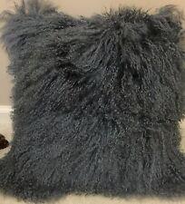 Genuine Mongolian Tibetan Lamb Fur Square Pillow Cushion Smoke grey 16x16