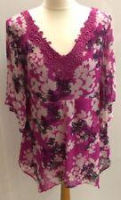 Per Una Ladies Pink Floral V Neck Top Kimono Sleeves Size 14 Handkerchief Hem
