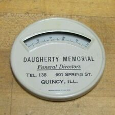 DAUGHERTY MEMORIAL FUNERAL DIRECTORS QUINCY ILL Old Advertising Thermometer Sign
