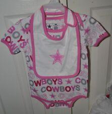Dallas Cowboys NFL Girls Toddler One Piece With Bib set Pink Size 24M NWT
