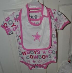 Dallas Cowboys NFL Girls Infant 24 month One Piece W/ Bib set Pink New With Tag