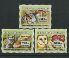 Owls Mushrooms Set of 3 mnh stamps 2007 Guinea