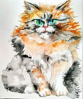 "Black. Calico Kitty Original painting,Cat Art,pet cat lover unique gift 5x7"""