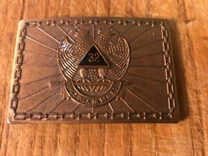 "1978 Harry Kutzner Bronze Masonic Freemason Belt Buckle 3"" 32nd Degree"
