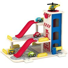 Large Wooden Garage Childrens Kids Play Set Pretend Toy 3 Levels 5 Vehicles Gift