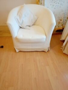 PAIR OF IKEA TUB CHAIRS - WHITE - WITH COVER - USED
