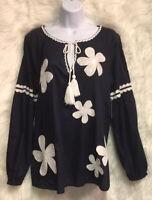 Crown & Ivy Navy Floral Appliqué L/S Tassel Tie Blouse Top Sz M - NWT