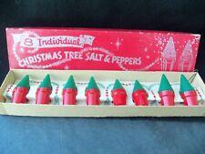 Vtg Christmas Tree Plastic Salt Pepper Shakers Set 8!!  IOP!  NOS!!  GREEN RED!