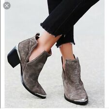 Jeffrey Campbell Cromwell Gray Snake Suede Leather Ankle Boots Bootie Sz 10 VGUC