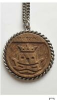 Vintage HMS Art Royal Pendant Chain Navy Warship Crest Carved Wood Gift