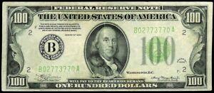 1934 NEW YORK FEDERAL RESERVE US $100 DOLLAR NOTE LIGHT GREEN SEAL FR. # 2152-B