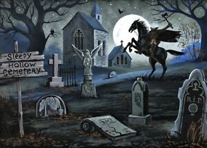 5x7 PRINT OF PAINTING RYTA HALLOWEEN SLEEPY HOLLOW HEADLESS HORSEMAN TOMBSTONE