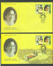 Philippine Stamps 2009 President Corazon Aquino on  2 FDCs Complete Set (First P