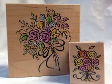 All Night Media Rose Lily of the Valley Flower Bouquet 2 Rubber Stamps Not Inked