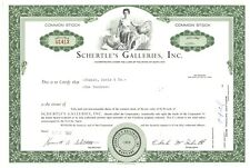 Schertle's Galleries, Inc.  Stock Certificate.  Maryland.