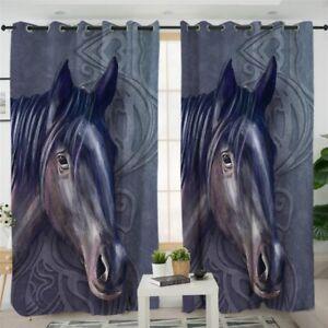 Purple Mandala Horse Animal Wild Window Living Room Bedroom Curtains Drapes